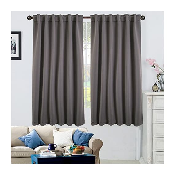 """Ottomanson 52"""" X 63"""" Back Tab & Rod Pocket-Grey (2 Panels) Blackout Curtain, Piece - Cuts out 80Percent - 90Percent of light and UV rays for maximum energy efficiency, while insulating heat and cold. Also improves sleeping conditions and TV viewing experience Design: modern Durable machine-made fade and wear resistant. Made in Turkey - living-room-soft-furnishings, living-room, draperies-curtains-shades - 51XB1dQJDvL. SS570  -"""