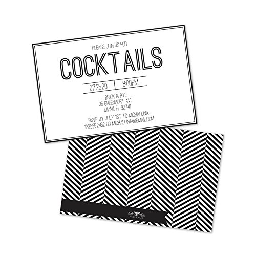Personalized Chevron Cocktail Party - Invitations Personalized Cocktails