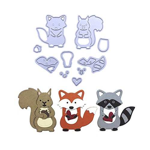 STORE - DECORATIVE - Cute Woodland Animals Set Fox Metal Cutting Dies Stencil for DIY Scrapbooking Photo Album Embossing Paper Cards Decorative Craft by STORE - DECORATIVE