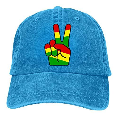 SsSEYYA Rasta Peace Fingers Unisex Denim Baseball Caps Street Basketball Adjustable Cotton Dad Hat Blue (Sonnenbrille Trendy)