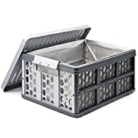 HERNGEE Collapsible Trunk Organizer Car Truck Van SUV Multipurpose Storage Container, 28 Liter Breathable Utility Crate with Waterproof Bag