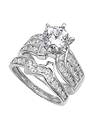 Sterling Silver Designer Engagement Ring Wedding Band Bridal Set Sizes 4-12