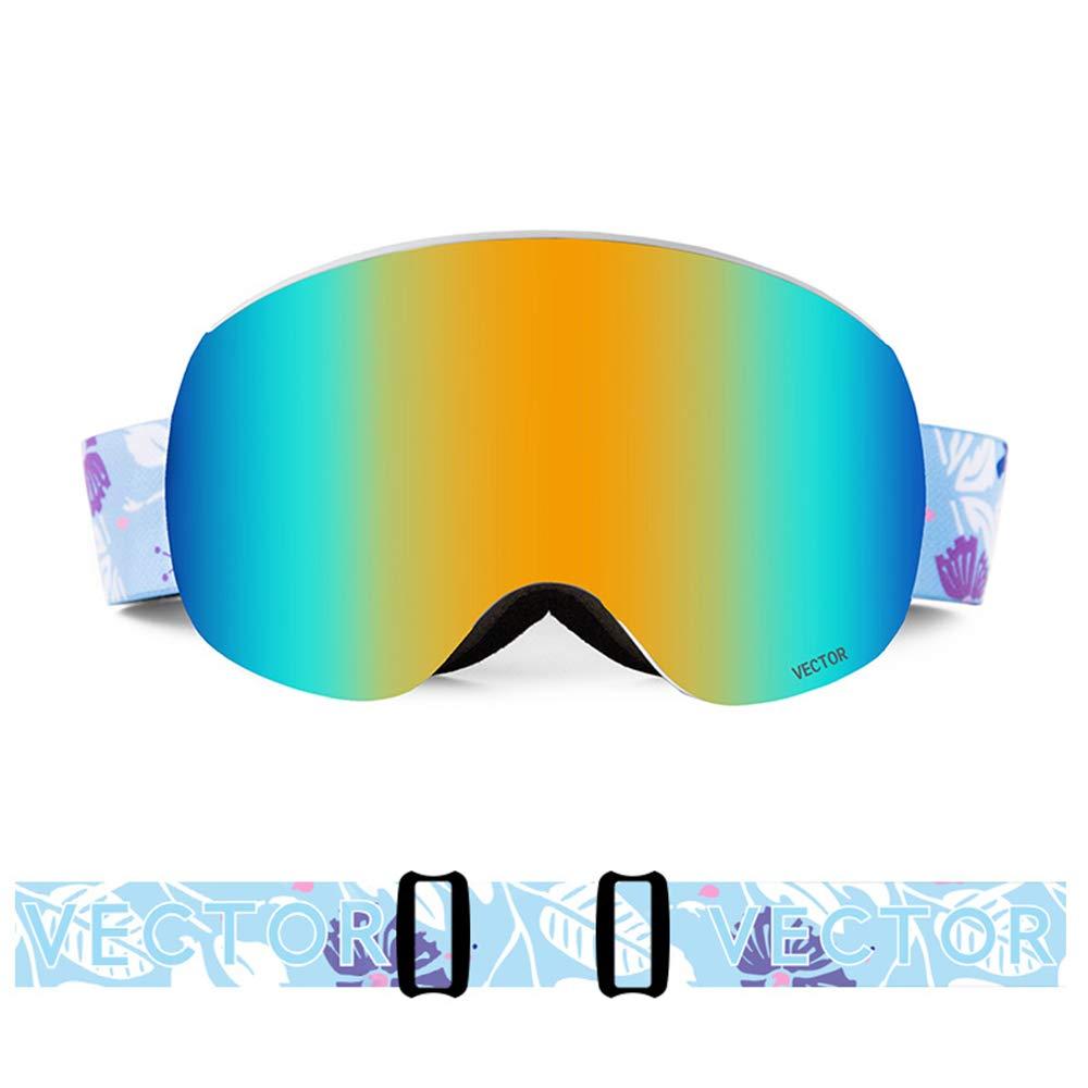 スキー用のゴーグル スキーゴーグル - TPU/PC、ダブルレンズ、取り外し可能なレンズは、近視、反紫外線、親子成人屋外スキー、登山防止曇りHDゴーグルをもたらすことができます - 8色 (色 : Dutch flower (14.8%)) Dutch flower (14.8%)