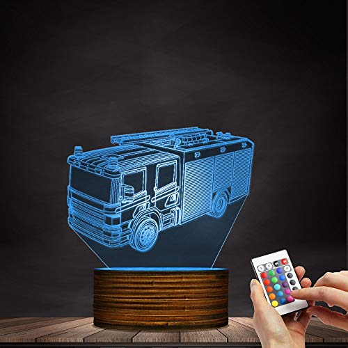 Novelty Lamp, 3D Led Lamp Optical Illusion Fire Truck Night Light 16 Colors with Remote Control Room Decor Switch Remote - Gift for Birthday Christmas Child Adult,Ambient Light by LIX-XYD (Image #3)