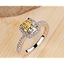18k White Gold Gp Swarovski Crystal AAA Zircon Square Lady Bridal Wedding Engagement Ring R24b