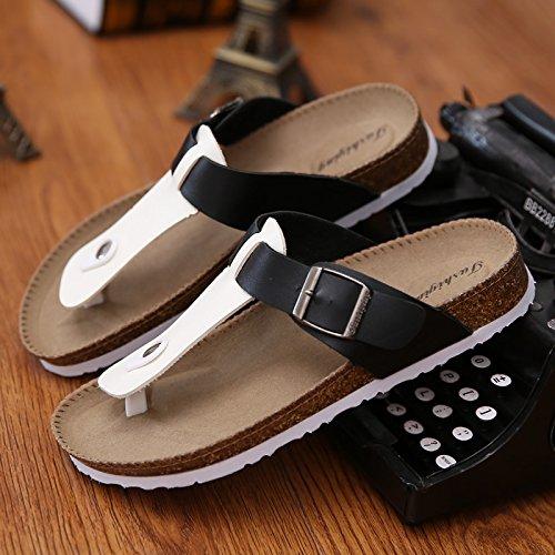 Las parejas masculinas zapatillas de corcho de verano tiene un pasador de pinza arena antideslizante cool zapatillas sandalias tendencia casual que el arrastre y la hembra 40 ,A-11 en blanco y negroF