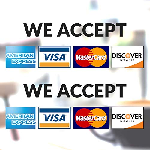 Clear Credit Card Vinyl Sticker Decal (Landscape) - 2 Pack - We Accept - Visa, MasterCard, Amex and Discover - 8