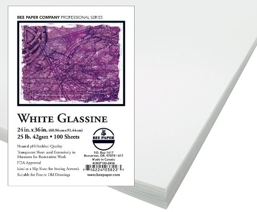 Bee Paper White Glassine Pack, 24-Inch by 36-Inch, 100 Sheets per Pack