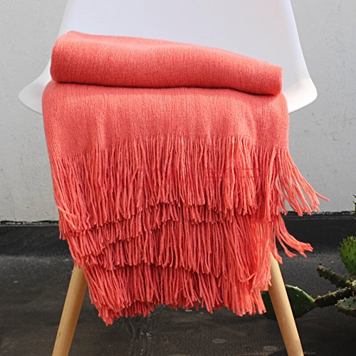 LAGHCAT Solid Blanket Cross Woven Couch Throw Christmas Knitted Blankets with Decorative Fringe Lightweight for Bed or Sofa Decorative,51