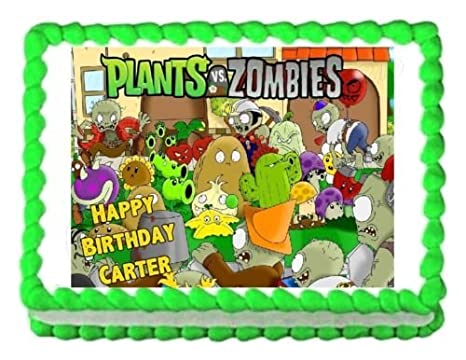 PLANTS VS. ZOMBIES edible party cake topper decoration ...