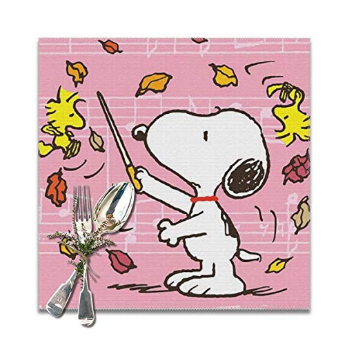 LIUYAN Placemats Commander Snoopy Heat Resistant Placemat for Kitchen Dining Table Set of 6