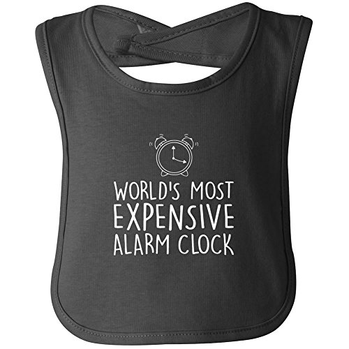 World's Most Expensive Alarm Clock funny bib in black - One Size