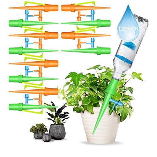 Haokaini 12Pcs Upgraded Plant Waterer, Self Watering Spikes System with Holder Anti-Fall, Automatic Vacation Drip Irrigation Watering Devices, Slow Release Control Switch for Outdoor Indoor Plants