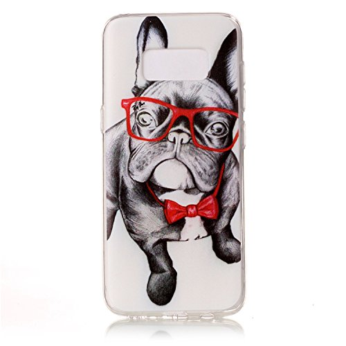 Galaxy S8 Case, S8 Soft Case, Easytop Slim Fit Flexible TPU Gel Rubber Soft Silicone Protective Case for Samsung Galaxy S8 2017 Release (Pug with Red Glasses) -