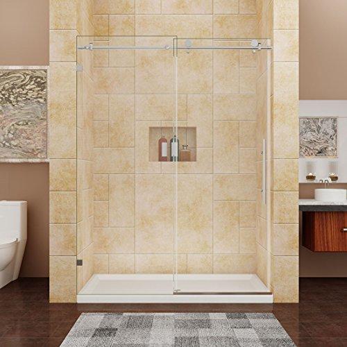 Best Prices! SUNNY SHOWER BP05P2 56 - 60 W, Frameless Sliding Shower Doors, 3/8 Glass, Polished C...