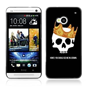 Designer Depo Hard Protection Case for HTC One M7 / Skull & Crown Message