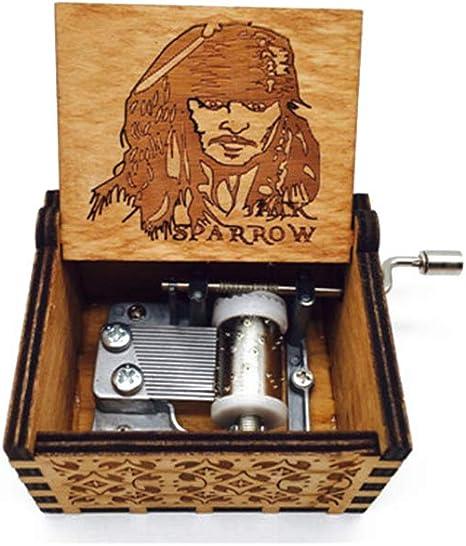 Caja de música ZYCX123 de madera tallada antigua, caja de música ...