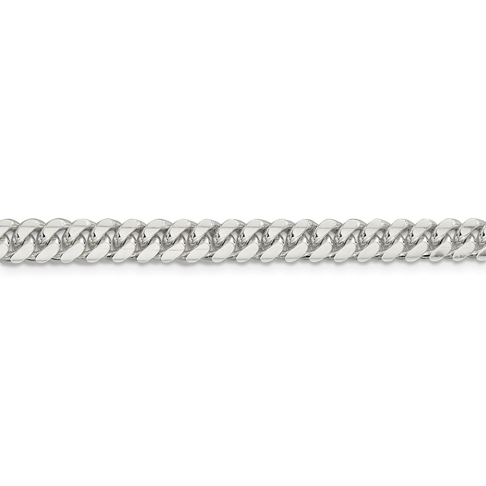 925 Sterling Silver 6.4mm Polished Domed Curb Chain 22 Inch