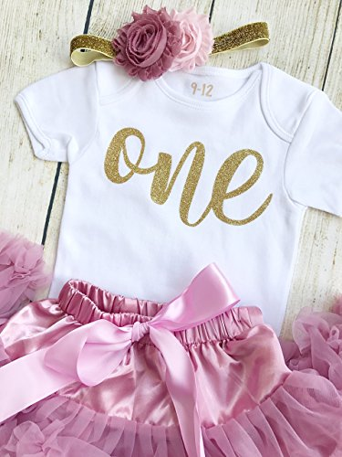 Rose Gold Pink One Vest First 1st Birthday Tutu Baby Girl Cake Smash Outfit