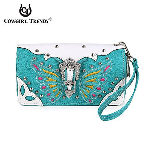 orful Butterfly Design Wallet accented with a Silver Buckle, Rhinestones, and Studs (Trendy Western Wallet)