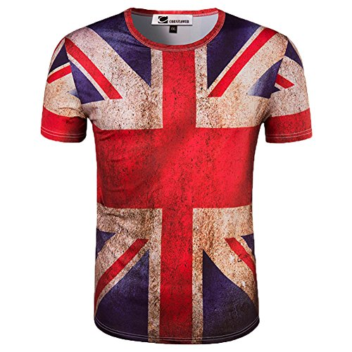 CORNFLOWER Men's 3D Printed T-Shirts Casual Short Sleeve Tees The Union Jack L
