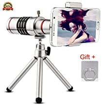 Camera Lens,WOHENI Universal 18x Zoom Lens Optical Telescope Mobile Lens Kit with Aluminu mini Tripod for iphone Sansung LG and More (18x-Silver)