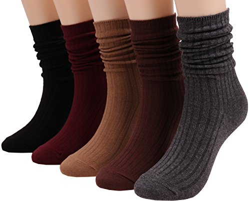 ANCHOVY 5 Pack Womens Cotton Crew Socks Casual High Ankle Knit Socks Solid Color 5-10 C55