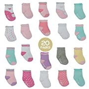 Little Me 20 Pair Pack Unisex Baby Infant Newborn Girls Anklet Socks in Gift Box Set, Flat Knit, Multi, 0-12/12-24 Months