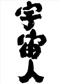 魂心Tシャツ 宇宙人(XLサイズTシャツ黒x文字白)