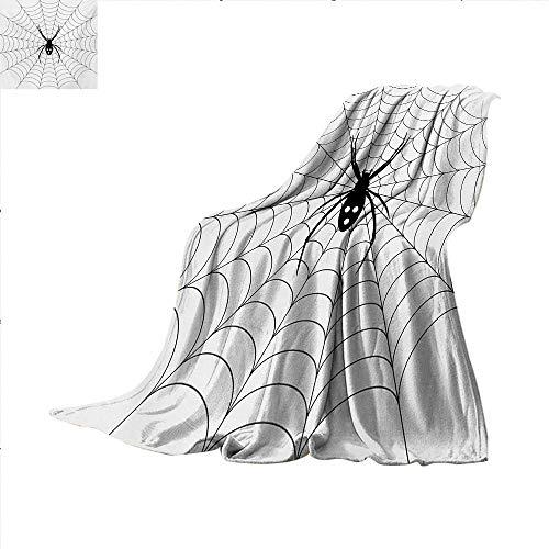 Sunsetglow Spider Web, Throw Blanket, Poisonous Bug Venom Thread Circular Cobweb Arachnid Cartoon Halloween Icon, Print Artwork Image, W60 x L80 Inch, Black White ()