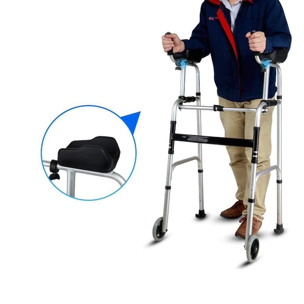 Walking Frame with Wheels Narrow, Portable Bag Lockable Brake Adjustable Height Auxiliary Walking Safety Walker (Color : with Brakes) by YL WALKER (Image #2)