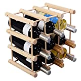 Custpromo Wooden Bottle Wine Rack Holder Stackable Wine Display and Storage Rack for 12/24/40/44/72 Bottles (12 Bottles)