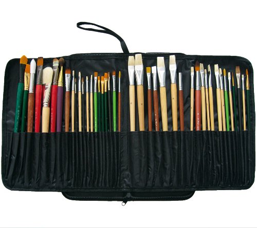Prat Start Expandable Brush Case with Water-Resistant Nylon Cover, Holds 44 Long Handle Brushes for Easy Transport, 15 X 6.5 X 1.5 inches, Black (BC2-L) by Prat