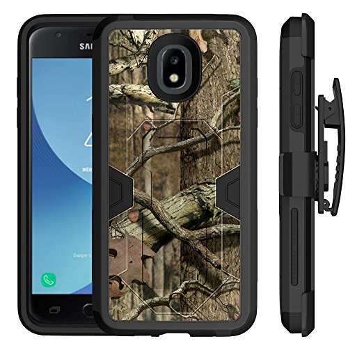 Untouchble | Camo Case for Samsung Galaxy Express Prime 3/ Amp Prime 3/ J3 Orbit / J3 2018 [MYSTIC DEFENSE] Heavy Duty Hybrid Rugged Case with Kickstand Holster Belt Clip Combo - Hunting Tree Camo
