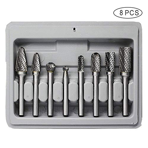 Carbide Burr Set JESTUOUS 1/4 Inch Shank Diameter Double Cut Edge Rotary File Polishing Carving Tool for Die Grinder Drill Bits,8pcs