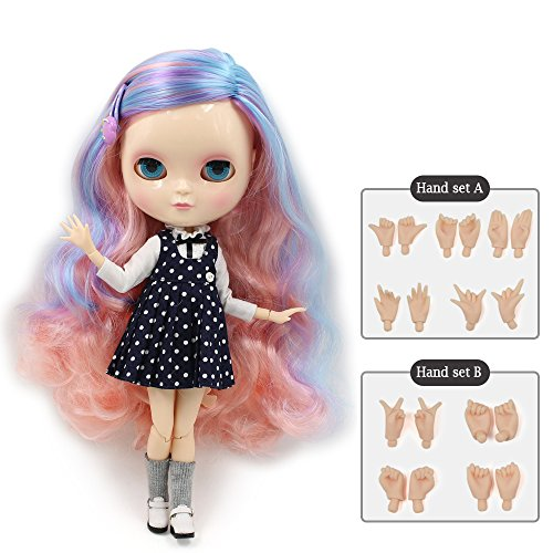 The 30.5cm ICY Nude Doll is The Same as Blythe Doll,can Change The faceplate and Clothes for DIY Maker,19 Joint Body Doll is Suitable for Girls Present and Best Gift. (COLORFUL1) (Happy Face Faceplate)