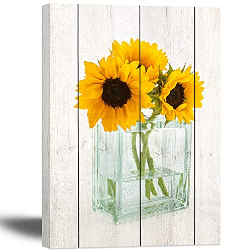 Sunflowers Bathroom Decor 12X16Inch Sunflowers Canvas Wall Art for Bedroom with Frame Yellow Flowers in Glass Bottle Living Room Wall Picture Sunflower Bathroom Decorations
