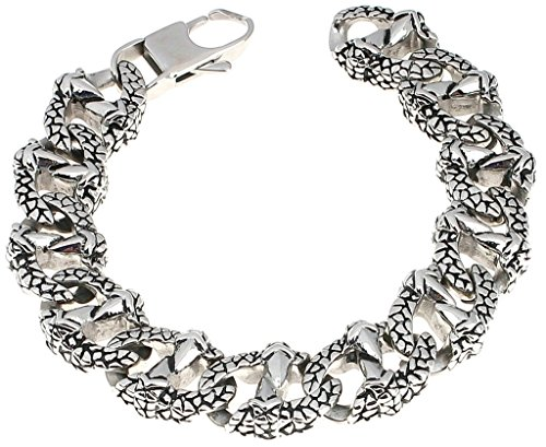 - Alimab Jewelery Men's Stainless Steel Chain Bracelets Eagle Claw Silver