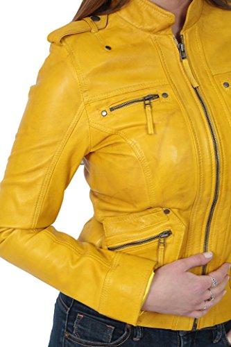 Di Biker Collare Delle Casual Giacca Giallo Piedi Donna Zip In Laura Stile Up Pelle xgw1EqZ