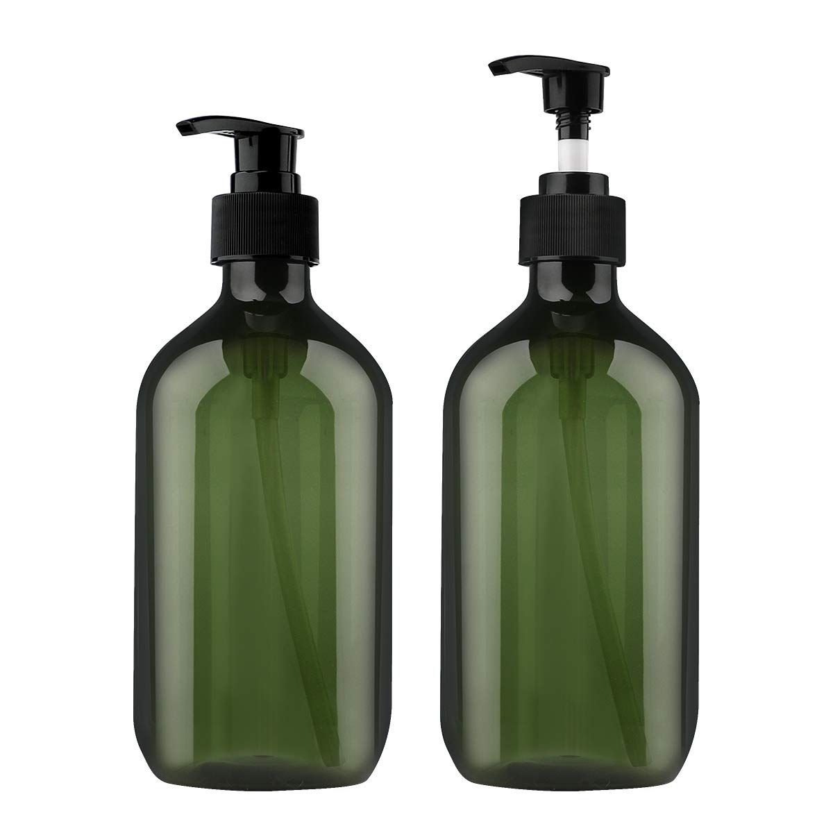 Yebeauty Shampoo Pump Bottle, 2 Pack 17oz/500ml Empty Bottle with Pump Multipurpose- Green