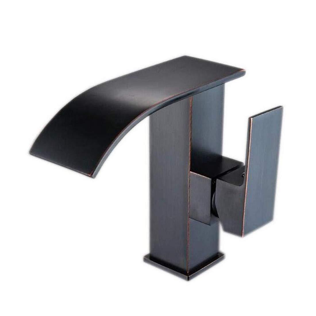 Wasserhahn Luxus Überzogene Küche Bad Wasserhahn Becken Wasserhahn Schwarz Verkupferung Heiße Und Kalte Einloch-Wasserfallhahn