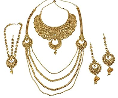 Buy Muchmore Traditional Gold Plated Polki Bridal Necklace Set