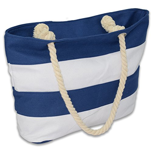 Beach Bag with Zipper, Tote Bag with Rope Handle for women, girl, (Blue/White) (Stripe Beach Bag)