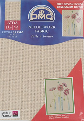 Aida Needlework Metallic Fabric 14 Ct 20X30- Gold