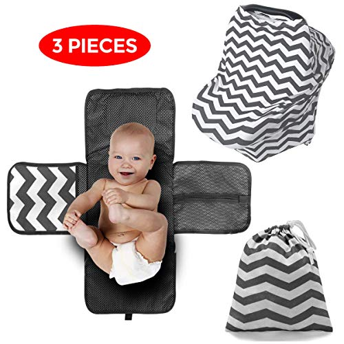 Portable Baby Diaper Changing Pad Set of 3, Diaper Mat with Built-in Head Cushion, Car Seat Cover, Swaddle, Nursing Cover, Matching Lightweight Bag, Portable, Multipurpose, Waterproof by Baby Luxxious