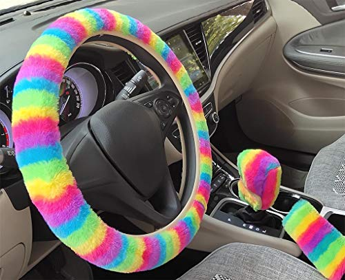Universal 3Pcs Set Plush Steering Wheel Cover for Women Faux Wool Hand Brake Cover&Gear Cover Set Warm Winter car Styling Interior (Rainbow)