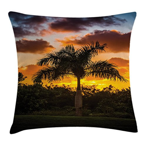 Palm Tree Decor Throw Pillow Cushion Cover by Ambesonne, Palm Tree Silhouette Scene at Sunset Twilight Tranquility in Nature Image, Decorative Square Accent Pillow Case, 20 X 20 Inches, Orange - Twilight Pillow Throw