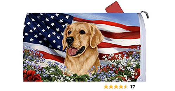 Decorative Outdoor Polyester Mailbox Wrap Standard 6.5 x 19 Mailboxes HOOSUNFlagrbfa White and Black Labradors Flowers Friendship Golden Retriever Magnetic Mailbox Cover