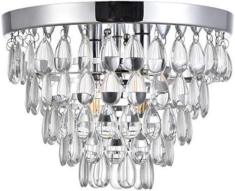 MonDaufie D12 Raindrop Crystal Chandelier Flush Mount Ceiling Light Fixture, 2 Lights, Chrome Finish