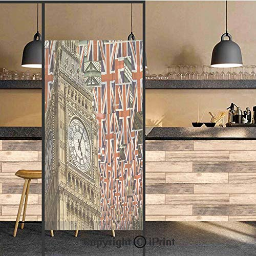 3D Decorative Privacy Window Films,UK Flags Background with Big Ben Festive Celebrations Loyalty,No-Glue Self Static Cling Glass Film for Home Bedroom Bathroom Kitchen Office 24x48 Inch -